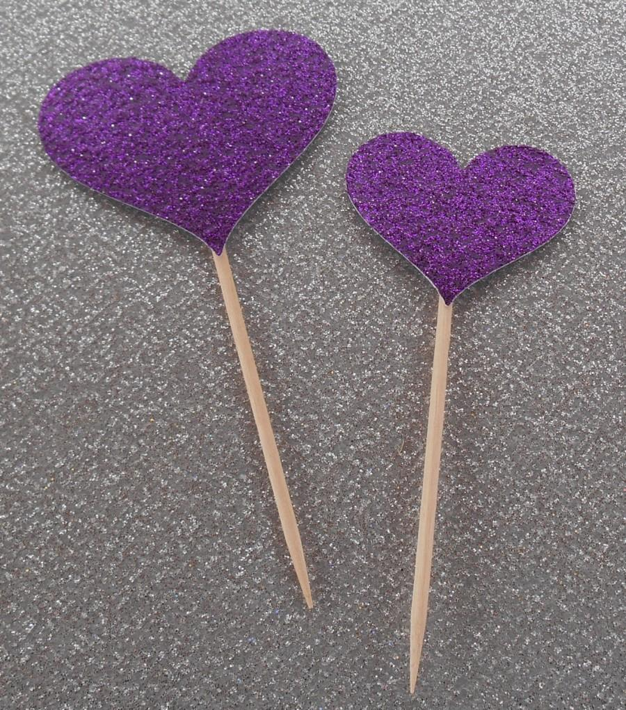 12 Sparkling PURPLE HEART Cupcake Toppers Wedding Cake Decorations Food Picks Appetizers