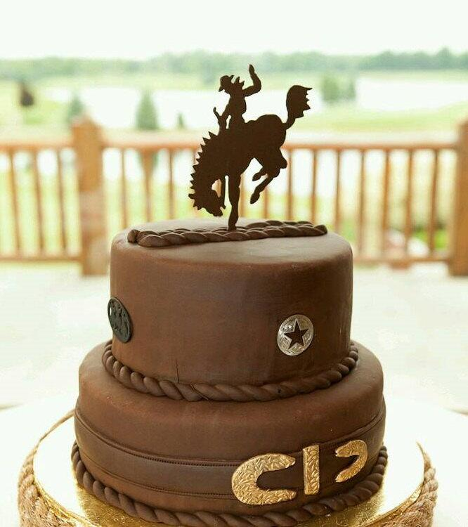 Grooms Cake Topper Bucking Bronco Rodeo Rider Sign Keepsake For