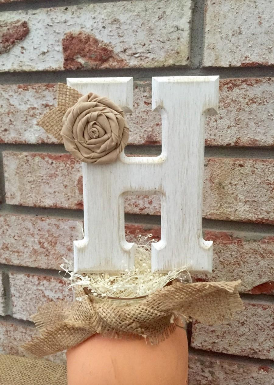 Wedding - Rustic Wedding Cake Topper - Wooden Cake Topper - Rustic Wedding - Personalized Wedding Cake Topper - Burlap Cake Topper - ANY COLOR