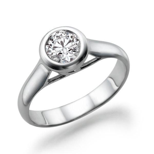 Bezel Ring Diamond Engagement Ring 14k White Gold Ring Bezel Setting Solitaire Ring 0 50 Ct Diamond Ring Band 2441483 Weddbook