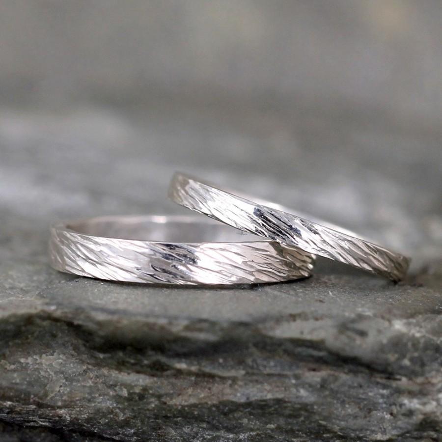 زفاف - Sterling Silver Wedding Bands  - Silver Bands - Rustic Wedding Bands - Wedding Rings - His and Hers - Bark Hammered Texture
