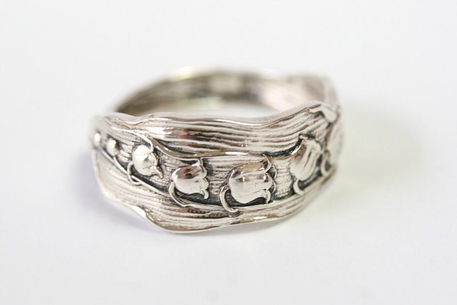Hochzeit - Vintage Sterling Silver Spoon Ring-  Lily Of The Valley, 1892