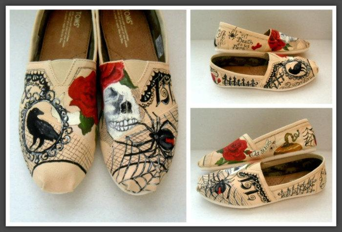 Wedding - Bride's Wedding Story Painted Authentic TOMs, Alternative Bridal Shoes, Custom Painted TOMS Wedding Shoes Bridal Party engagedwedding