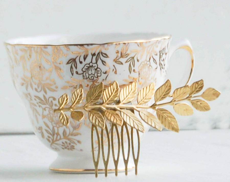Свадьба - Golden LEAF Branch Hair Comb Woodland Whimsical Nature Bridal Gold LEAF Fairy Wedding