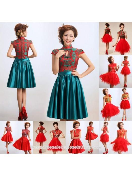 Eight Styles Folk Pattern Brocade Gauze Cheongsam Chinese Mandarin Collar Wedding Dress