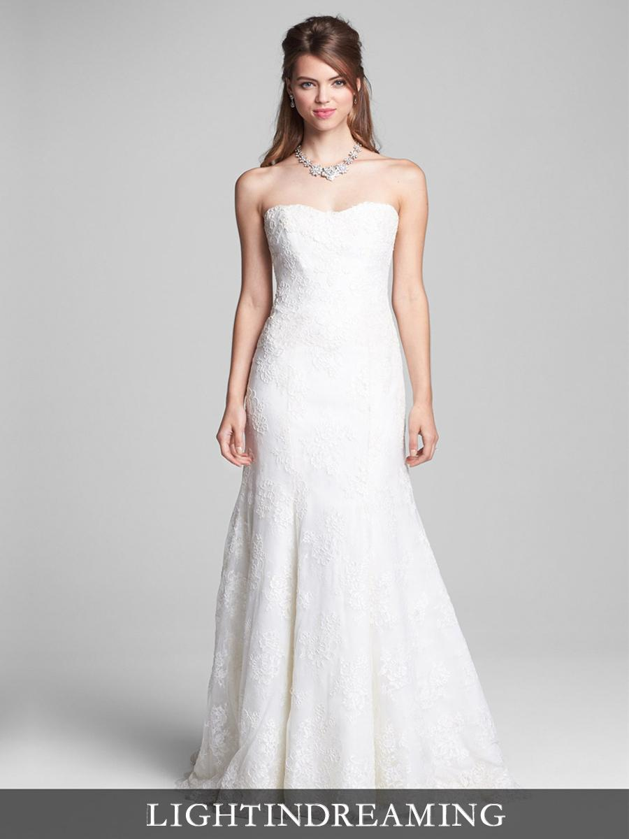 Strapless Sweetheart Embroidered Lace Trumpet Wedding Dresses