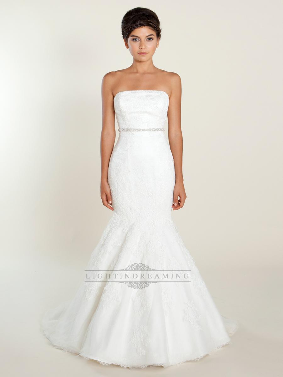 Mariage - Fit and Flare Strapless Lace Wedding Dresses with Beaded Belt - LightIndreaming.com