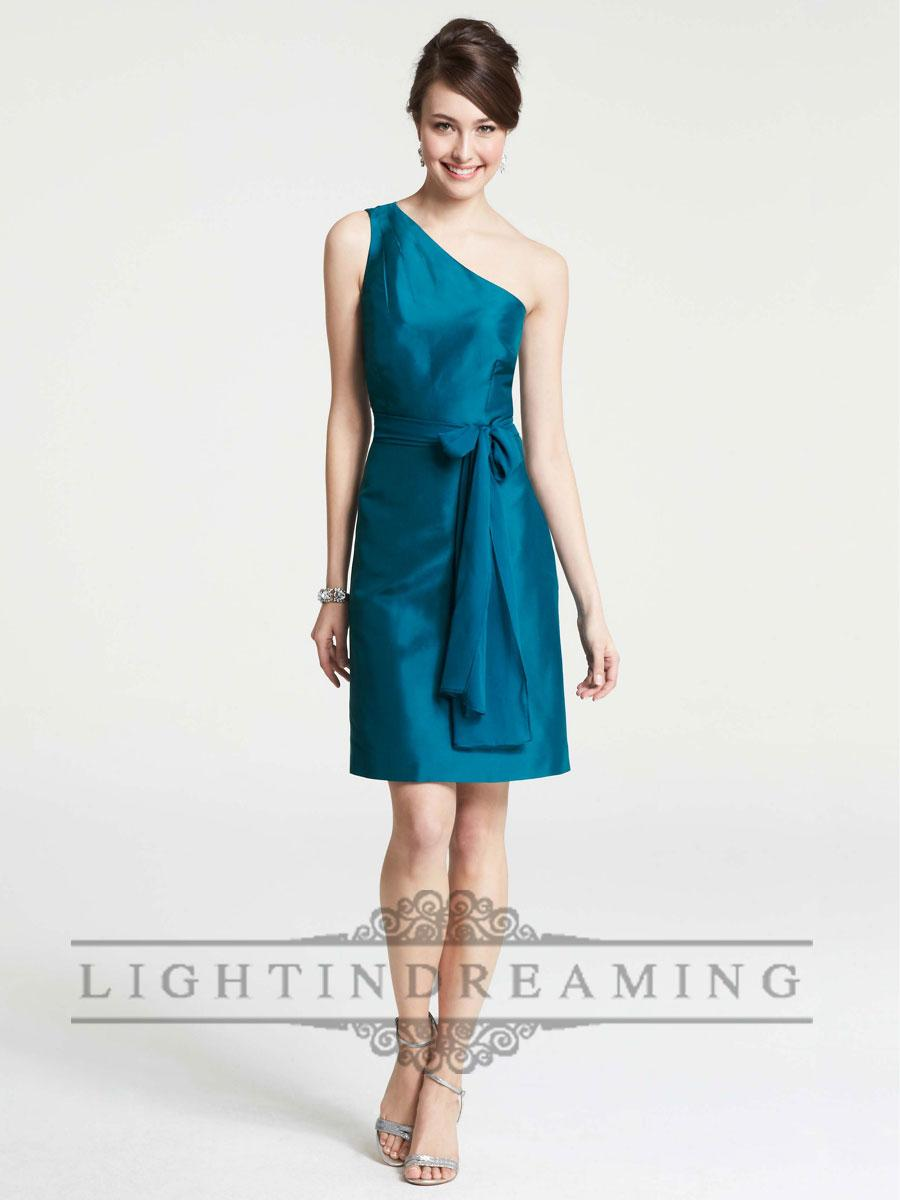 Свадьба - Gorgeous Draped One Shoulder Knee Length Bridesmaid Dresses with Belt Waist - LightIndreaming.com