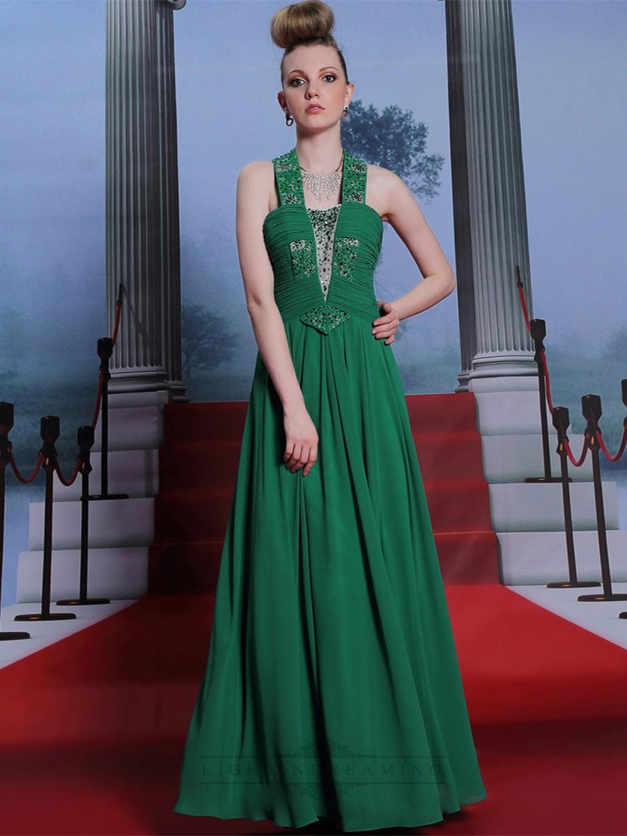 Wedding - Green Beaded Halter Ruched Bodice Long Formal Dresses - LightIndreaming.com