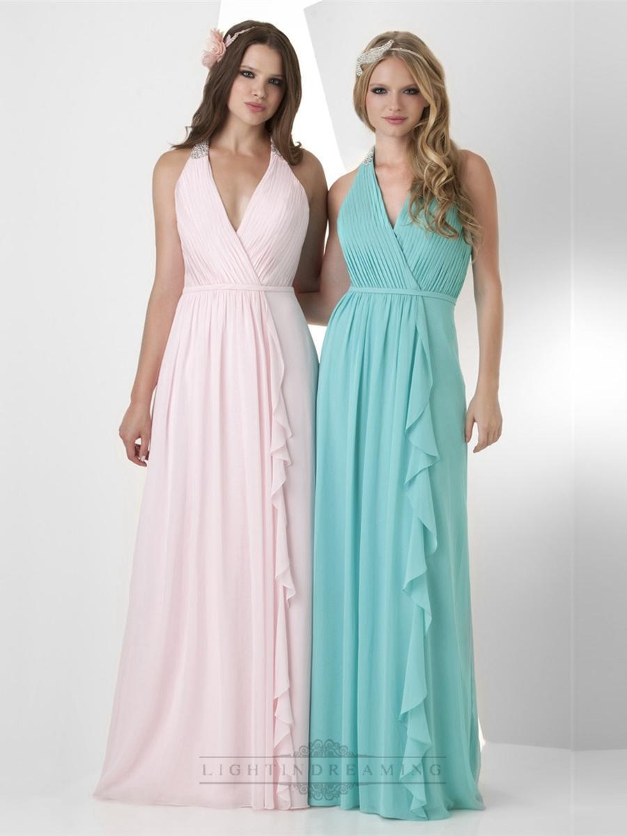 Свадьба - Halter V-neck Shirred Bust Bridesmaid Dresses - LightIndreaming.com