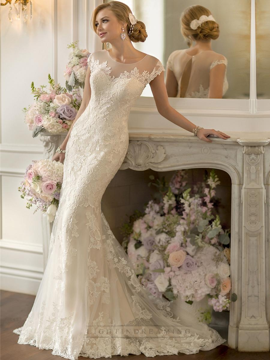 Wedding - Lace Over Sheer Short Sleeves Illusion Keyhole Back Wedding Dresses - LightIndreaming.com