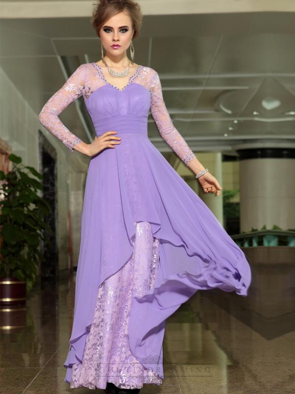 Wedding - Lavender Lace Illusion Long Sleeves A-line Floor Length Formal Dresses - LightIndreaming.com