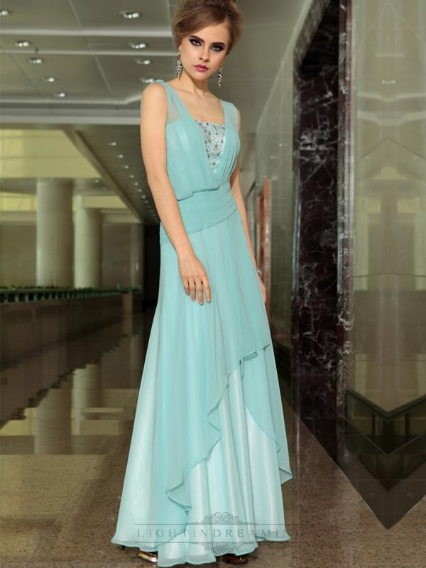 Wedding - Light Blue Chiffon A-line Floor Length Formal Dresses with Streamer - LightIndreaming.com