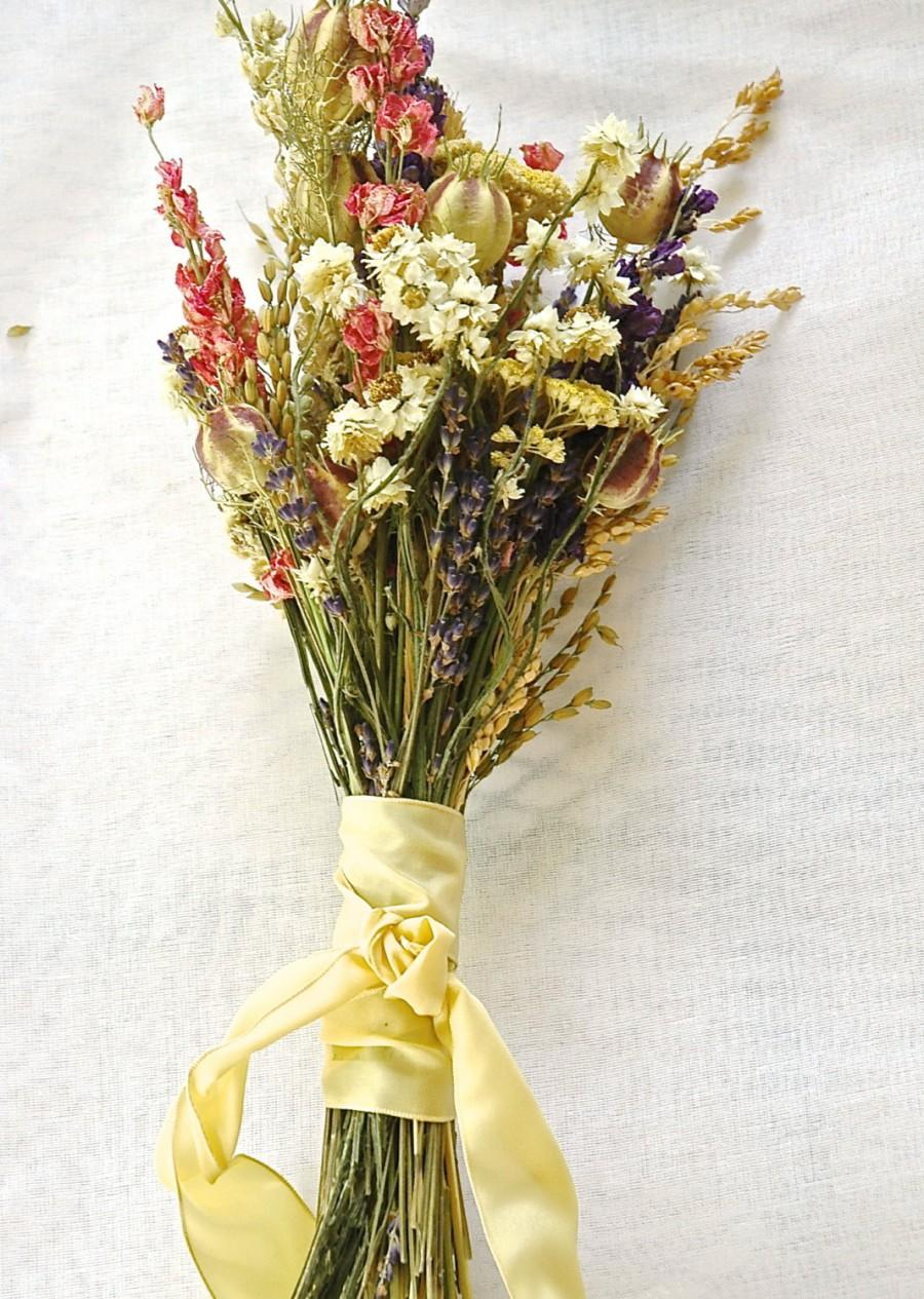 Свадьба - Wildflower and Lavender  Bridesmaid Bouquet with Yellow Rose Ribbon