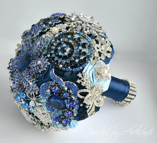 Royal Blue Wedding Brooch Bouquet/ Bridal Bouquet/ Navy Blue, Light ...