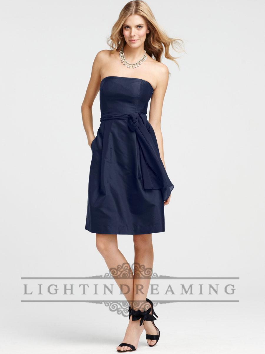 luxurious strapless silk dupioni bridesmaid dresses with