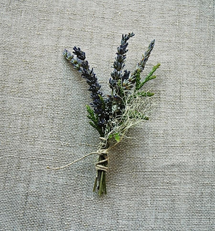 Hochzeit - Natural Woodland Grooms Wedding Boutonniere of French Lavender, Cedar, Lichens and Moss Tied with Natural Hemp Twine