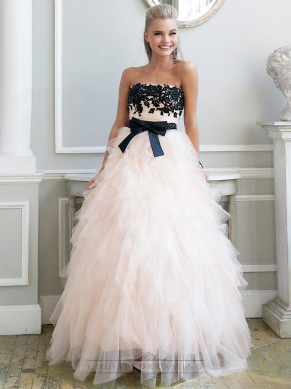 Boda - Luxury Strapless Floral Embellished Long Prom Dresses with Ruffled Skirt - LightIndreaming.com