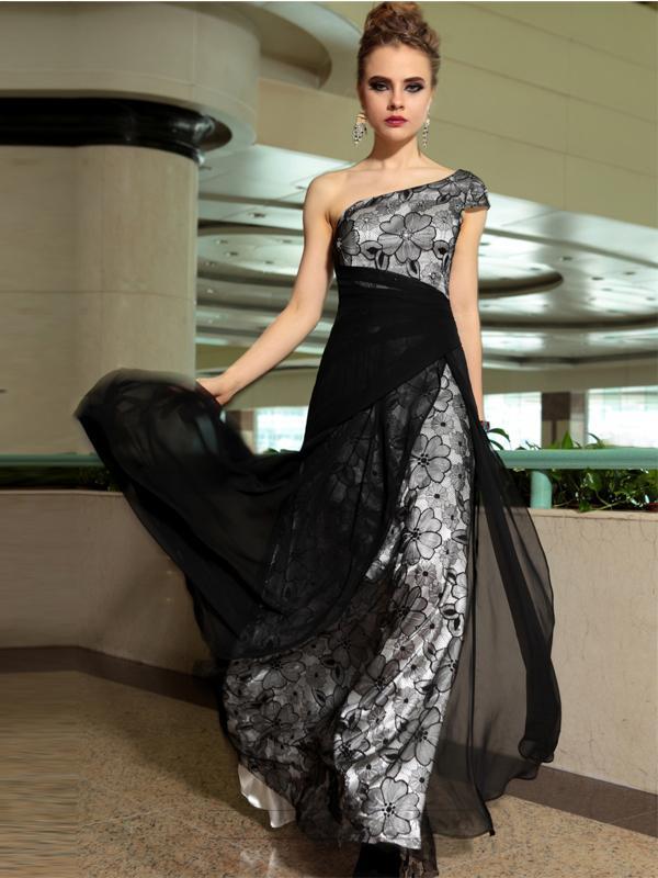 Wedding - One Shoulder Black Sheer Floral Overlay A-line Long Formal Dresses - LightIndreaming.com
