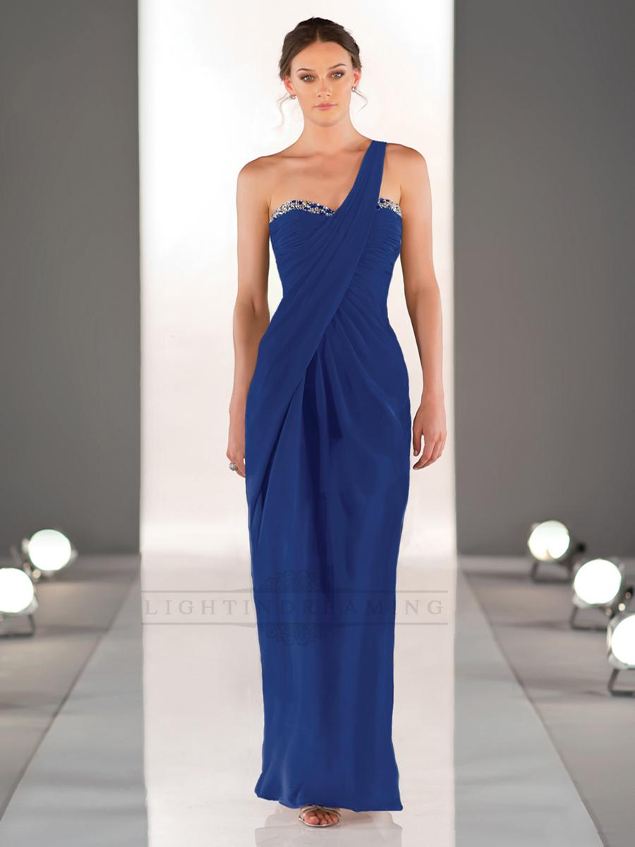 Mariage - One shoulder Sweetheart Neckline Ruched Bodice Full Length Bridesmaid Dresses - LightIndreaming.com