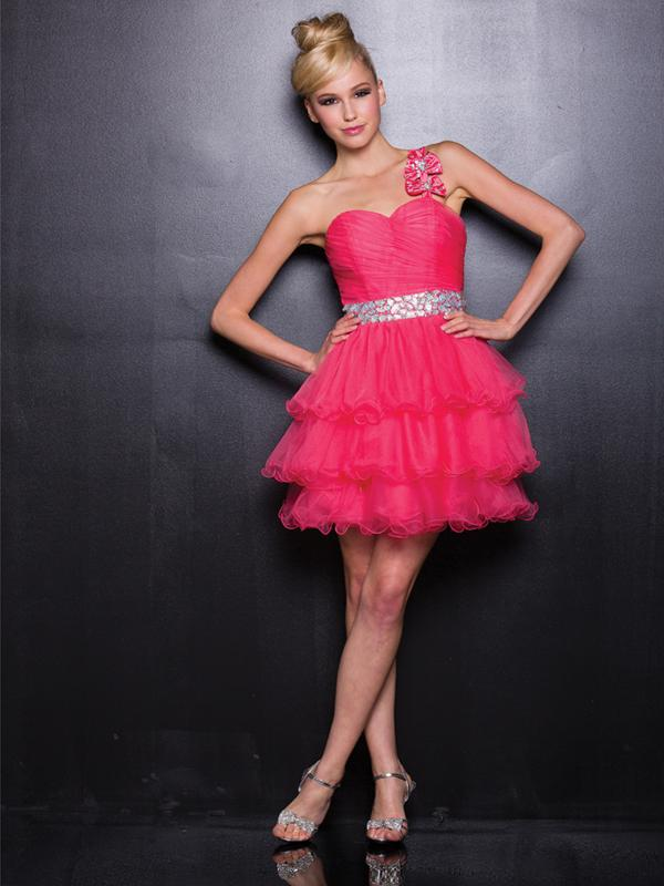 Mariage - Pink One Shoulder Tulle Short Prom Dresses with Empire Waist - LightIndreaming.com