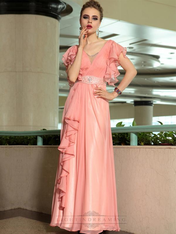 Mariage - Pink Ruffled Short Sleeves V-neck A-line Long Formal Dresses - LightIndreaming.com