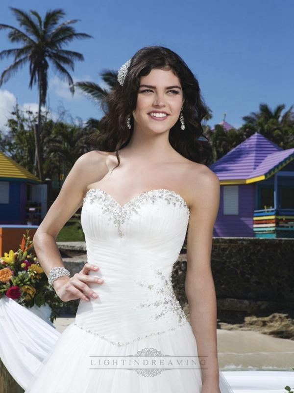 Mariage - Pleated Sweetheart Neckline, Side Hip And Basque Waistline Tulle Ball Gown - LightIndreaming.com