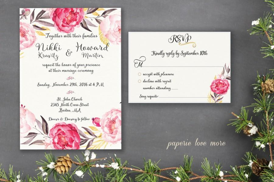 Wedding Invitation Suite Template Printable Classy Elegant Floral - Wedding invitation templates: wedding invitation suite templates