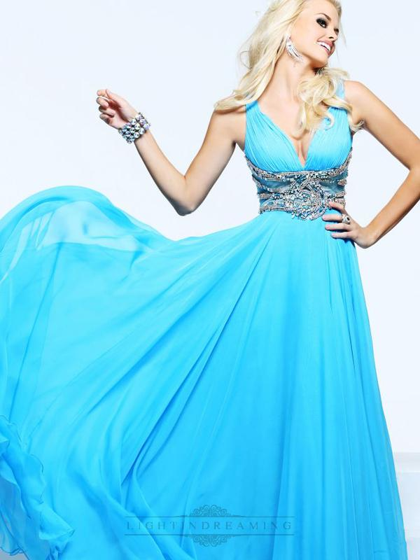 Mariage - Plunging V-neck and V-back Long Prom Dresses with Beaded Waist - LightIndreaming.com