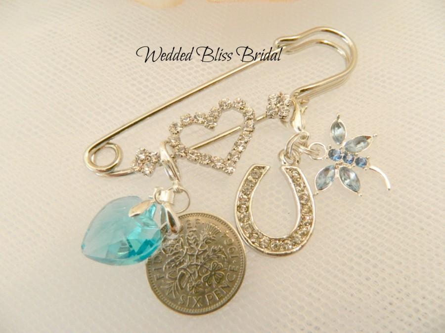 Brides Wedding Keepsake Pin Silver Colour Something Blue Charm