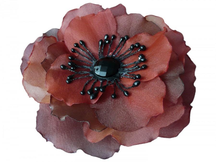 زفاف - Silk flower corsage pin, Two-Tone Poppy brooch, Wedding Prom Valentine's Day CRIMSON RED MAROON Verantinas Flowers