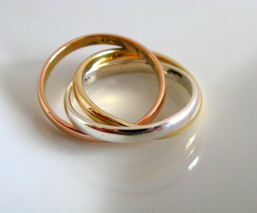 زفاف - Fine Jewelry - Russian Wedding Ring - Engagement Ring - Unisex Mixed Metal Sterling Silver & 14K gold  Rolling Ring - Handmade Jewelry -