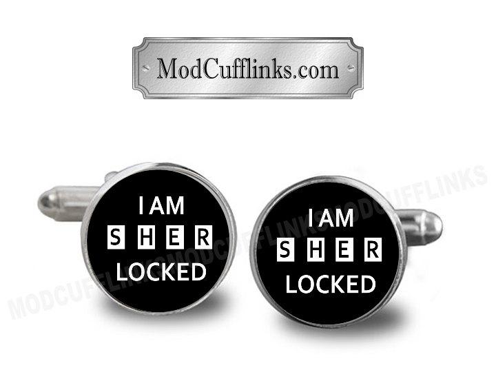 Mariage - I Am SHER Locked Cufflinks Or Tie Clip, A Printed Picture, Metal Bezel, Dome Glass
