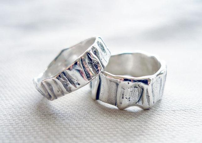 Unisex Wedding Band Set Matching Wedding Bands Sterling Silver