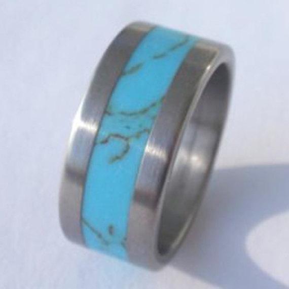 زفاف - Wedding Ring - Titanium Ring inlaid with Turquoise