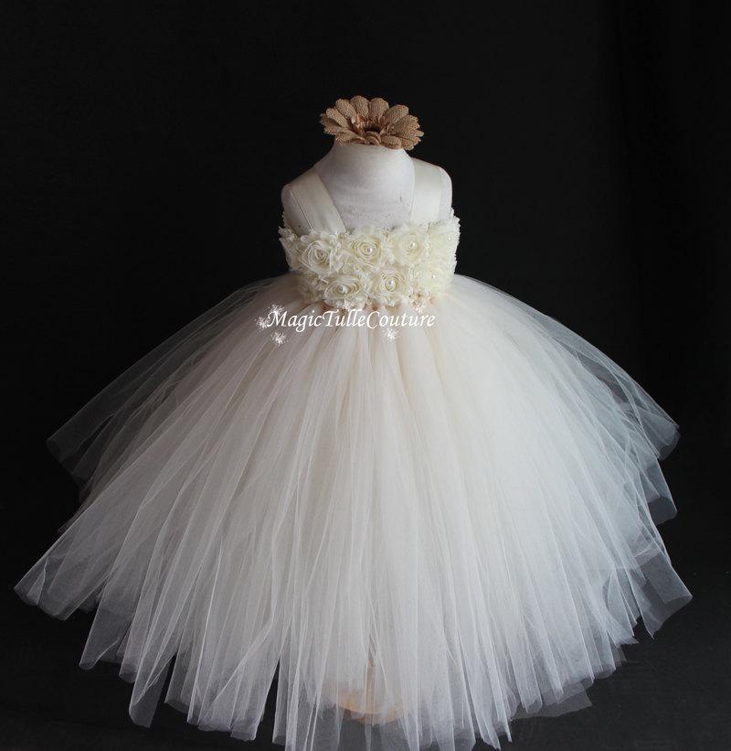 Wedding - Ivory Flower Girl Tutu Dress Wedding Dress Birthday Party Dress Junior Bridesmaid Dress 1T2T3T4T5T6T7T8T9T