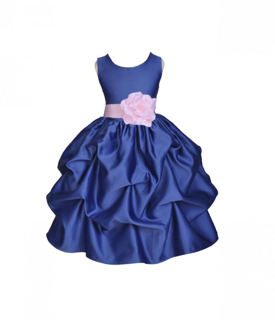 Navy blue choice of color sash kids flower girl dress pageant navy blue choice of color sash kids flower girl dress pageant wedding bridal children bridesmaid toddler sizes 6 9m 12m 2 4 6 8 10 ombrellifo Gallery