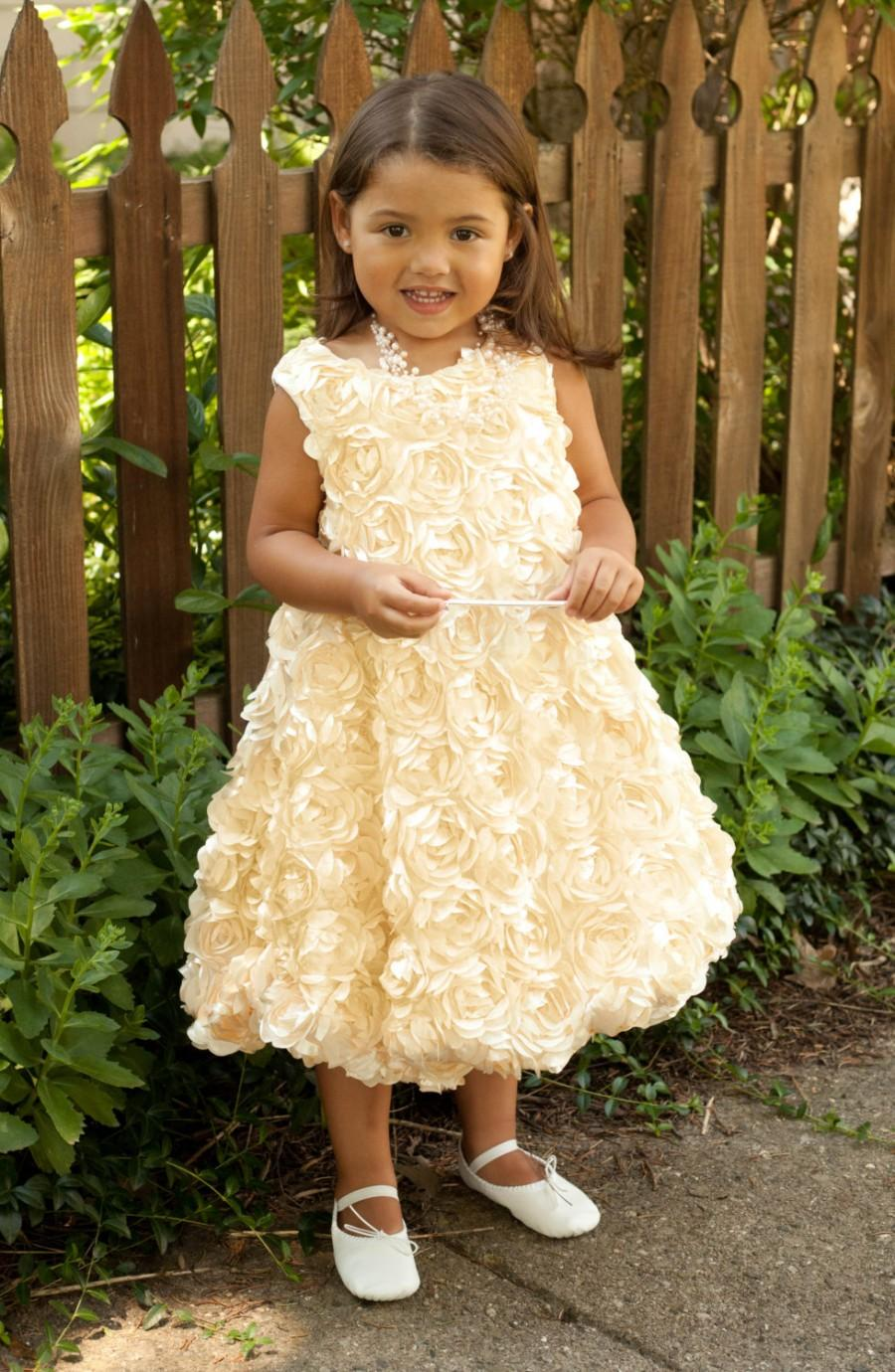 Flower Girl Dress Girls Gold Dress Toddler Dress Baby Dress ...