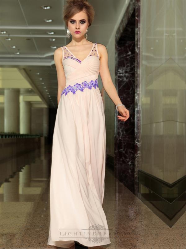 Hochzeit - Pink Beaded Straps V-neck A-line Floor Length Formal Dresses - LightIndreaming.com