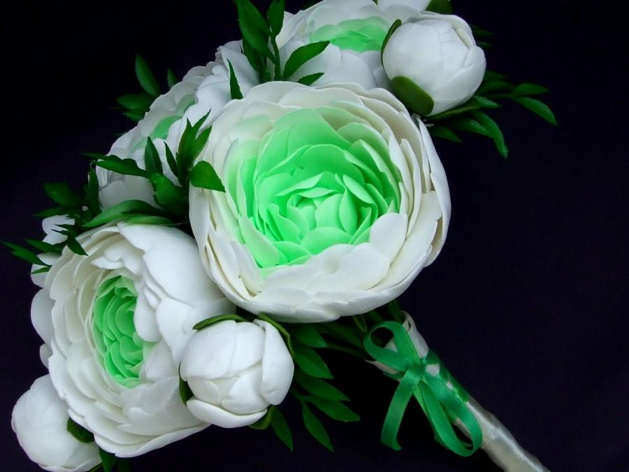 Hochzeit - Clay wedding bouquet and boutonniere set, Bridal bouquet, White and green peonies , Natural look bouquet