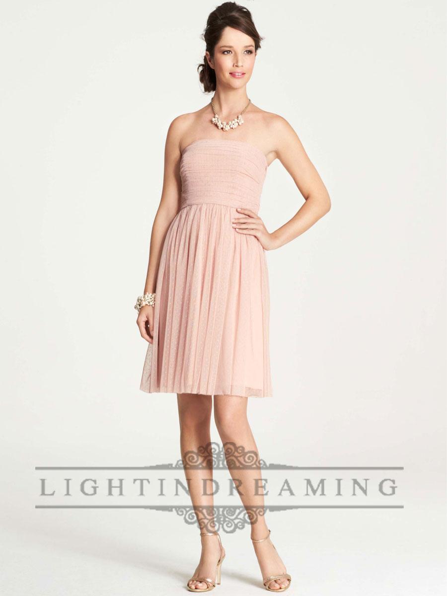 Hochzeit - Point D'Esprit Strapless Knee Length Bridesmaid Dresses - LightIndreaming.com