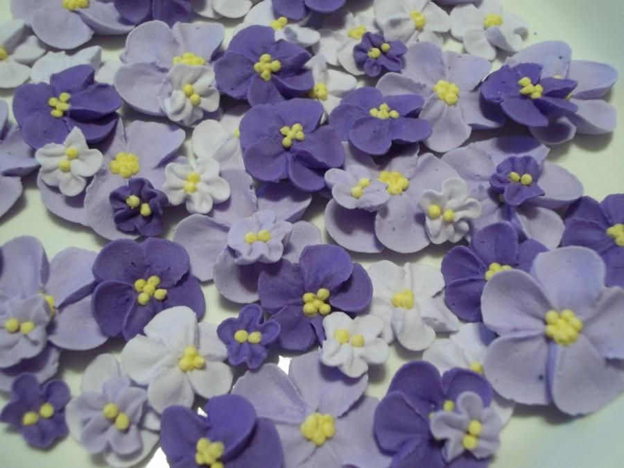 Wedding - Shades of purple royal icing flowers -- Ombre -- Cake decorations cupcake toppers edible (48 pieces)