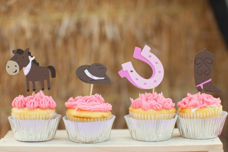 Cowgirl Cupcake Toppers Set Of 12 Giddy Up Pony Western Food Party