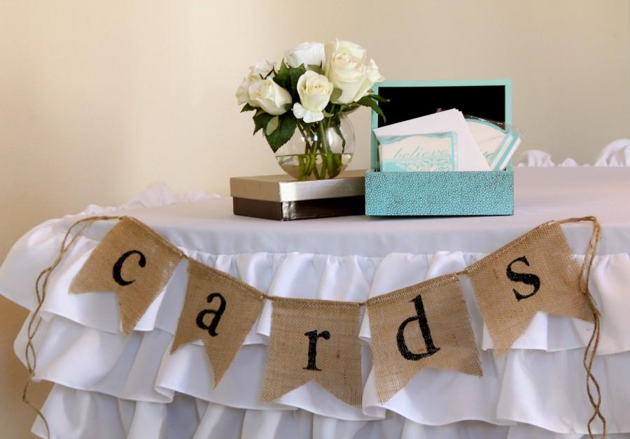 Cards Burlap Banner Wedding Celebration Card Table Sign Garland