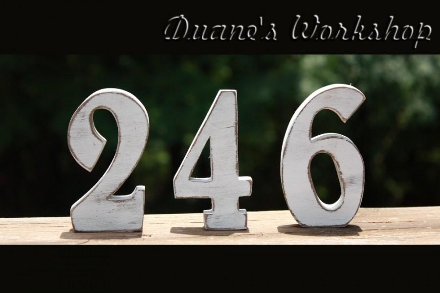 Свадьба - 5 inch Wedding Table Numbers - 5 tables - Wooden, Wedding reception, Painted