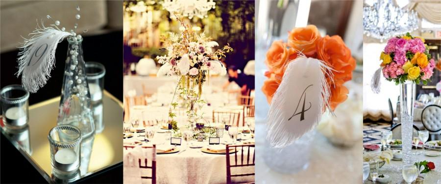 Свадьба - Wedding table numbers FEATHERs with wire stems for flower arrangement