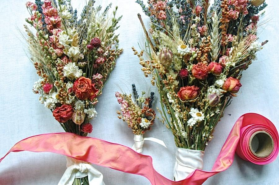 Свадьба - Custom Brides and Bridesmaid Bouquets and Groom's Boutonniere of Dried Lavender, Coral Larkspur and Roses and Dried Flowers