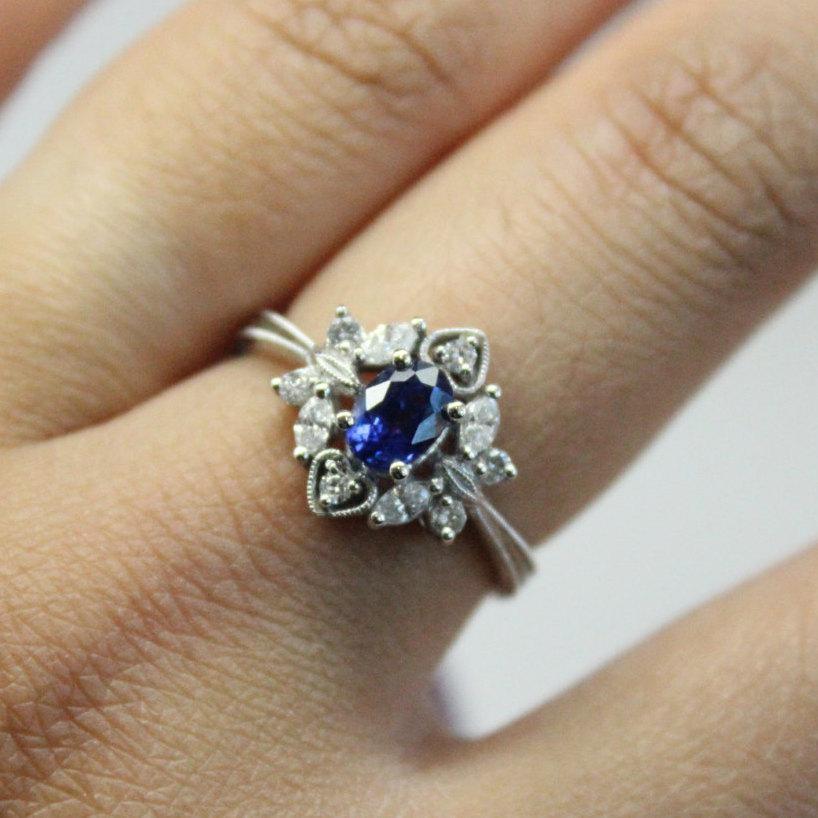 زفاف - Diamond Sapphire Engagement Ring