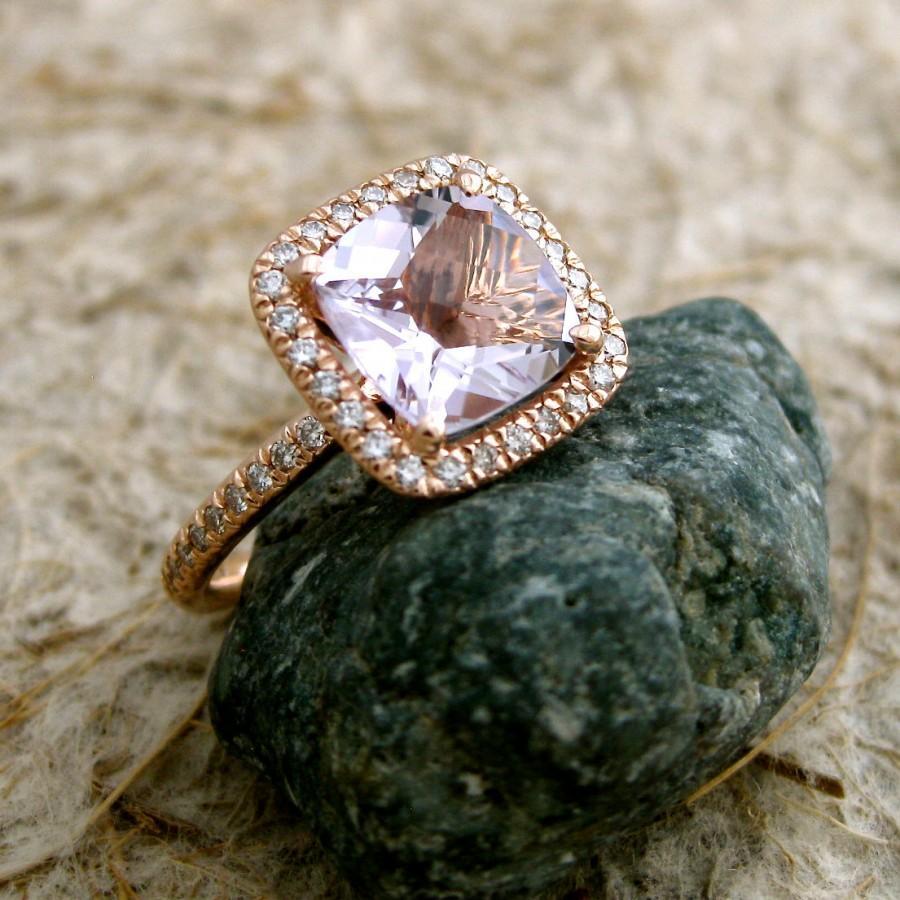 Lavender Lilac Rose De France Amethyst Engagement Ring In 14k Rose
