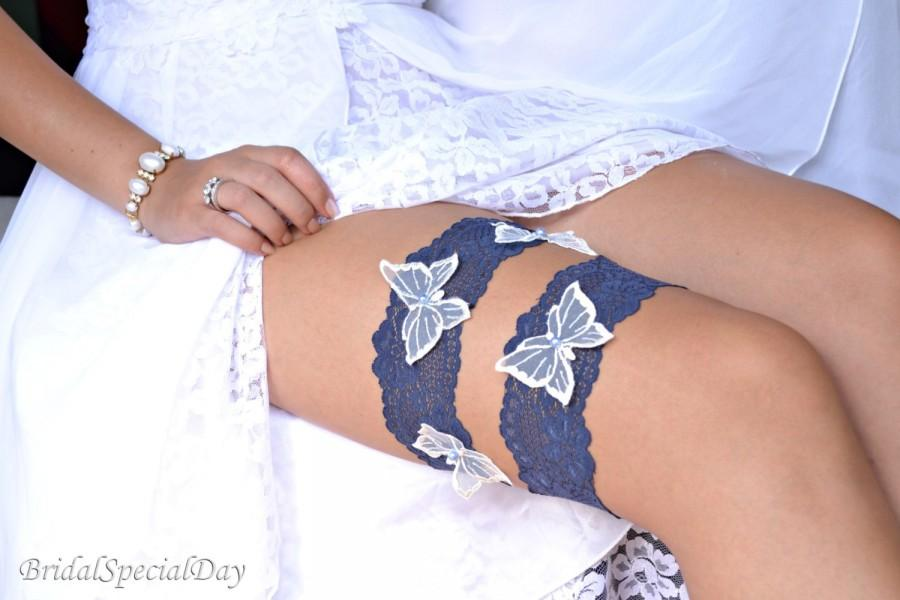 Свадьба - Lace Wedding Garter Set Something Blue Garter Bridal Garter  White Butterfly Appliques Women's Clothing  Handmade Wedding Lingerie  Garter
